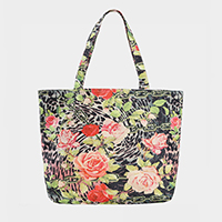 Rose Flower Pattern Print Tote Bag