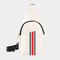 Color Block Detail Faux Leather Sling Bag
