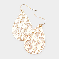 Filigree Leaf Brass Metal Teardrop Dangle Earrings