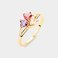 Gold Plated CZ Trefoil Clover Ring