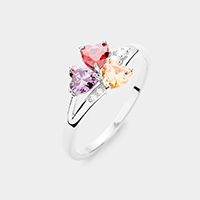 Rhodium Plated CZ Trefoil Clover Ring