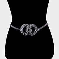 Textured Double Open Metal Circle Link Stretch Belt