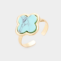 Semi Precious Clover Adjustable Ring