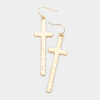 Hammered Metal Cross Dangle Earrings