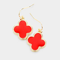 Gold Trim Enamel Clover Dangle Earrings