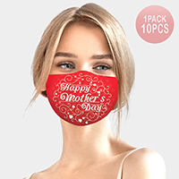 10PCS - Happy Mother's Day Heart Print Cotton Fashion Masks