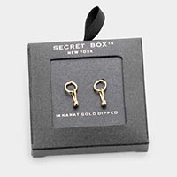 Secret Box _ 14K Gold Dipped Geometric Metal Earrings