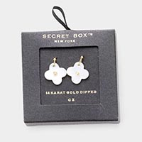 Secret Box _ 14K Gold Dipped CZ Mother of Pearl Clover Dangle Earrings