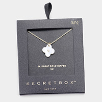 Secret Box _ 14K Gold Dipped CZ Mother of Pearl Clover Pendant Necklace