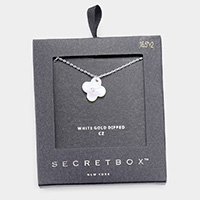 Secret Box _ White Gold Dipped CZ Mother of Pearl Clover Pendant Necklace