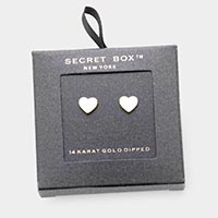 Secret Box _ 14K Gold Dipped Enamel Heart Stud Earrings