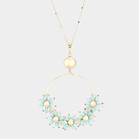 Metal Open Circle Flower Cluster Pendant Necklace