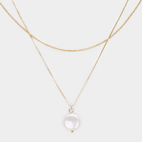 Round Pearl Pendant Double Layered Necklace