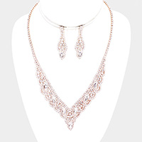 Marquise Stone Accented Rhinestone Necklace