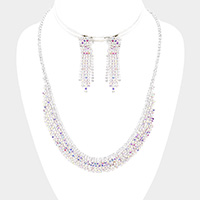 Curved Rhinestone Pave Necklace