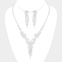Butterfly Accented Rhinestone Necklace