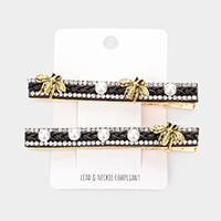 2PCS - Pearl Metal Honey Bee Snap Alligator Hair Clips