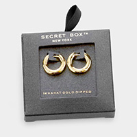 Secret Box _ 14K Gold Dipped Metal Hoop Huggie Earrings