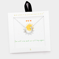 Secret Box _ Metal Sun Pendant Necklace