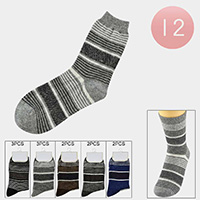 12Pairs - Assorted Striped Socks