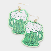ST. Patrick's Day Beer Faux Leather Dangle Earrings