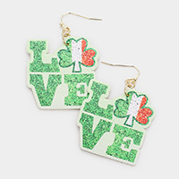 ST. Patrick's Day LOVE Clover Faux Leather Message Dangle Earrings