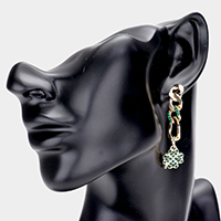 ST. Patrick's Day Metal Chain Rhinestone Clover Dangle Earrings