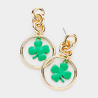 ST. Patrick's Day Clover Accented Open Metal Circle Link Earrings