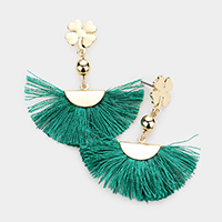 ST. Patrick's Day Metal Clover Fan Tassel Dangle Earrings