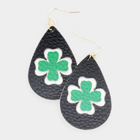 ST. Patrick's Day Clover Accented Faux Leather Teardrop Dangle Earrings
