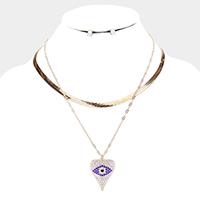Evil Eye Accented Heart Pendant Layered Necklace