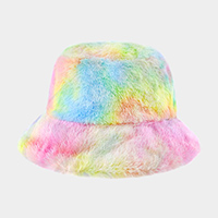 Tie Dye Faux Fur Bucket Hat