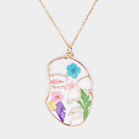 Pressed Flower Lucite Face Pendant Necklace