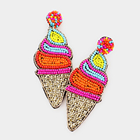 Felt Back Seed Bead Soft Ice Cream Dangle Earrings
