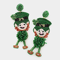 Felt Back Seed Bead ST Patrick's Day Clover Irish Man Dangle Earrings