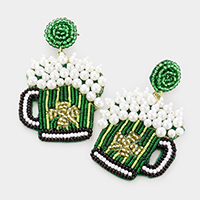 Felt Back Pearl ST Patrick's Day Clover Accented Beer Dangle Earrings