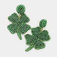 Felt Back Seed Bead ST Patrick's Day Clover Dangle Earrings