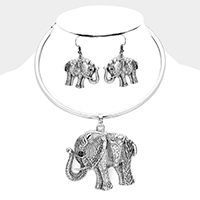 Stone Embellished Elephant Pendant Necklace