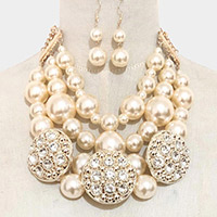 Stone Embellished Triple Round Pearl Bib Statement Necklace