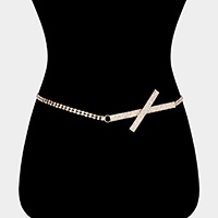 Rhinestone Rectangle Cross Accented Chain Belt