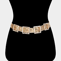 Stone Embellished Square Metal Chain Layered Belt