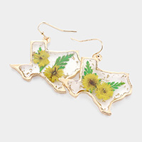 Pressed Flower Lucite Texas State Map Dangle Earrings