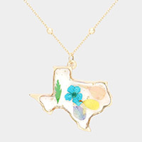 Pressed Flower Lucite Texas State Map Pendant Necklace