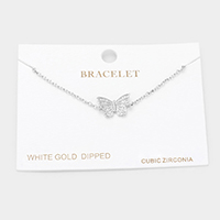White Gold Dipped CZ Butterfly Charm Bracelet