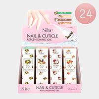 24PCS - Assorted Scent Nail and Cuticle Vitamin E Replenishing Olis