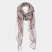 Plaid Check Print Oblong Scarf