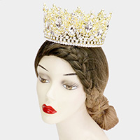 Marquise Teardrop Stone Accented Leaf Detail Queen Tiara