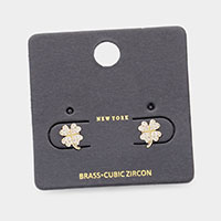 Brass Metal CZ Clover Stud Earrings