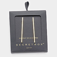 Secret Box _ 14K Gold Dipped Metal Bar Earrings