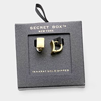 Secret Box _ 14K Gold Dipped Curved Rectangle Huggie Earrings